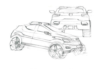 This is realsitic paniting sketch of unclolour car. The car is concept sketch with dinamics lines. It is cat of type off road.