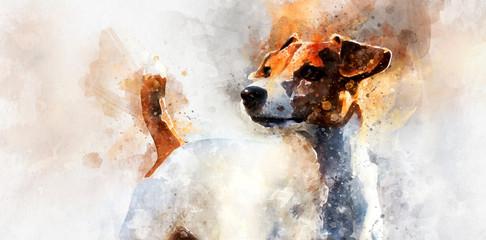 Jack Russell Terrier dog. Digital watercolor painting