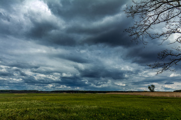 Dark heavy stormy clouds have covered the sky over the field. Countryside landscape