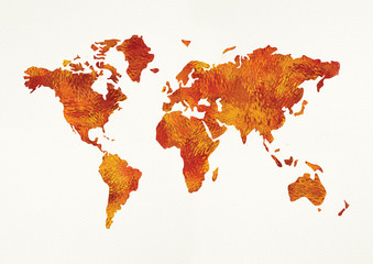 Autumn world map on white. Illustration