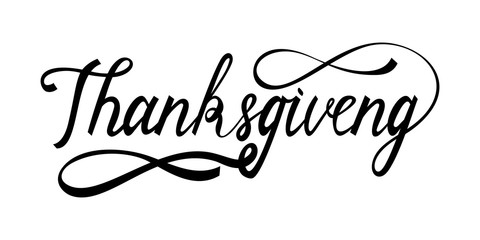 hand drawn thanksgiving lettering greeting phrase thanksgiving day