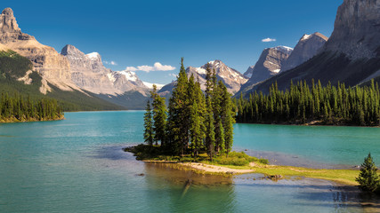 Beautiful Canadian landscape - Spirit Island in Maligne Lake, Jasper National park, Alberta, Canada.