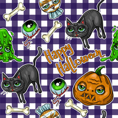 Pattern of halloween element patches: pumpkin, Skull, Spider, Slime, Cat, Bat, Bone .