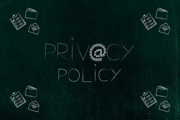 privacy policy text with @ symbol made of locks and business objects