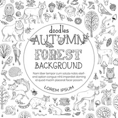 Vector doodles autumn forest background.