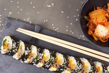 Kimbab rolls with tuna korean food