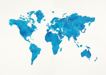 Winter world map on white. Illustration