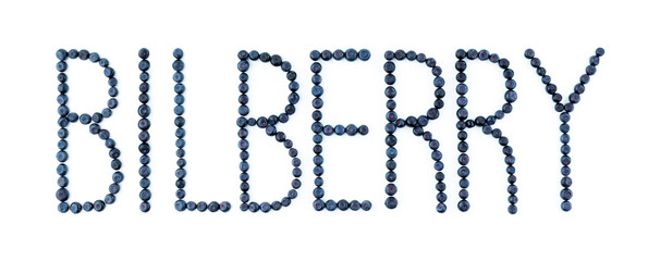 Bilberry font. Bilberries on white background. Blueberry fruit letters