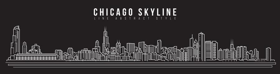Cityscape Building Line art Vector Illustration design - Chicago skyline