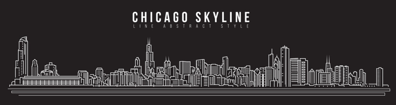 Cityscape Building Line art Vector Illustration design - Chicago skyline