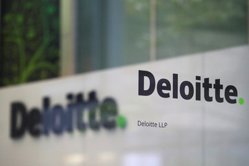 Offices of Deloitte are seen in London