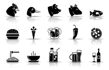 Speisekarte Iconset - Schwarz (Schatten)