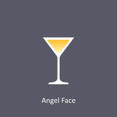 Angel Face cocktail icon on dark background in flat style