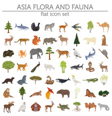Flat Asian flora and fauna map constructor elements. Animals, birds and sea life isolated on white big set. Build your own geography infographics collection