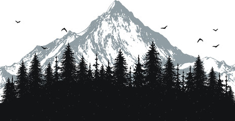 hand drawn vector nature illustration with mountains and forest on first view. silhouette landscape. using for travel and nature background and card Fotobehang