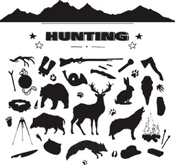 hand drawn hunting isolated attribute set with silhouettes of forest animals, gun, knife, mountains etc