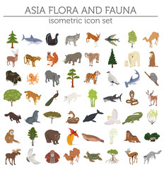 Isometric 3d Asian flora and fauna map constructor elements. Animals, birds and sea life isolated on white big set. Build your own geography infographics collection