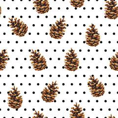 Polka dot pine cones seamless background
