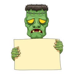 Frankenstein holding blank banner. Vector illustration