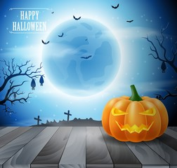 Halloween night with grinning pumpkins on blue background. Vector illustration