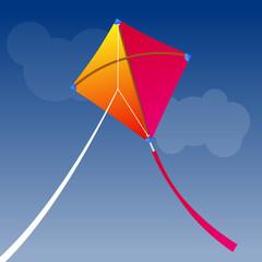 paper kite flying on sky.