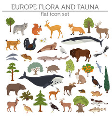 Flat European flora and fauna map constructor elements. Animals, birds and sea life isolated on white big set. Build your own geography infographics collection