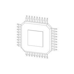CPU processor icon. Isolated on white background. Vector outline illustration.