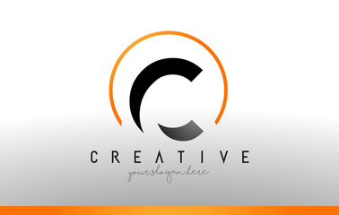 C Letter Logo Design with Black Orange Color. Cool Modern Icon Template.