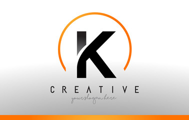 K Letter Logo Design with Black Orange Color. Cool Modern Icon Template.