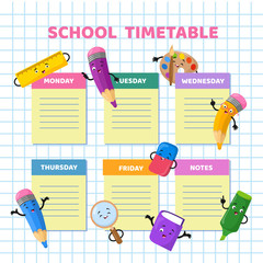 School timetable with funny cartoon stationery characters. Children weekly class schedule vector template