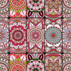 Garden Poster Moroccan Tiles Seamless pattern tile with mandalas. Vintage decorative elements. Hand drawn background. Islam, Arabic, Indian, ottoman motifs. Perfect for printing on fabric or paper.