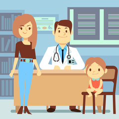 Baby girl and her mother visiting pediatrician - kids medicine concept