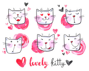 Watercolor cute collection of cats. Lovely kittens. Original hand drawn illustration. Cartoon.