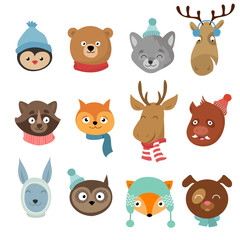 Winter xmas happy animals cartoon characters. Animals heads with neckerchief and hats vector set