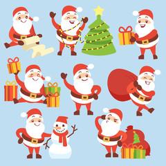 Cartoon cute santa claus character vector set. Symbol of christmas holiday