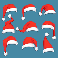Christmas santa claus red cartoon hats isolated vector set