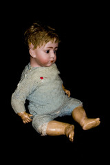 Vintage Antique Broken Doll Toys Dolly On Plain Background