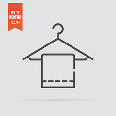 Hanger with towel icon in flat style isolated on grey background.