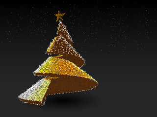 Astract Christmas tree from orange dot.