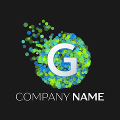 Realistic Letter G logo with blue, green, yellow particles and bubble dots in circle on black background. Vector template for your design
