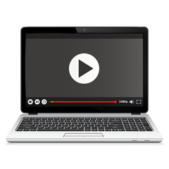 Laptop with media player interface template