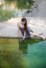 Woman relaxing at Japanese spa and hot springs