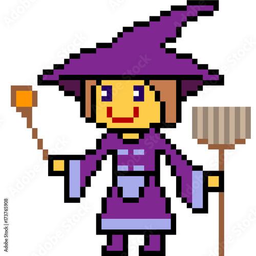 vector pixel art halloween witch
