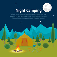 Cartoon Camping Night View Card Poster. Vector