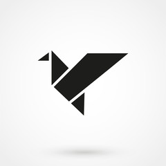 Bird origami icon
