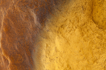 Aerial shot oxidised old mining iron minerals in water Rio Tinto
