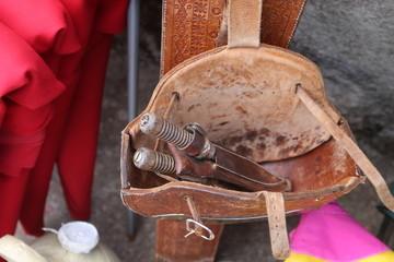 Puntillas de torero en la plaza