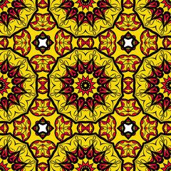 decorative folkloric seamless pattern. sun color background. vector illustration