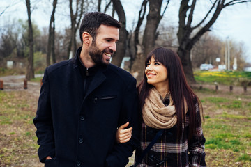Couple Walking in Nature on a Winter Day