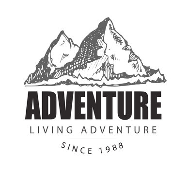 Camping and outdoor activity logo for tourism organizations, outdoor events and camping leisure. Tourism, hiking and camping labels.Hand drawn mountains. Outdoor camp and Mountain Logo Badges.